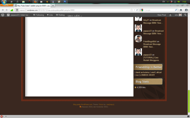 Contoh screenshot fullscreen dengan Snipping Tool
